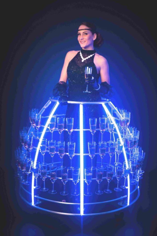 Robe à champagne Gatsby robe longue noir avec perle - Agence Butterfly