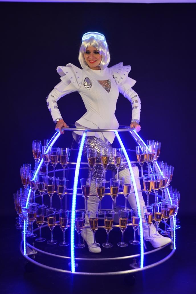 Robe à champagne futuriste led bleu - Agence Butterfly