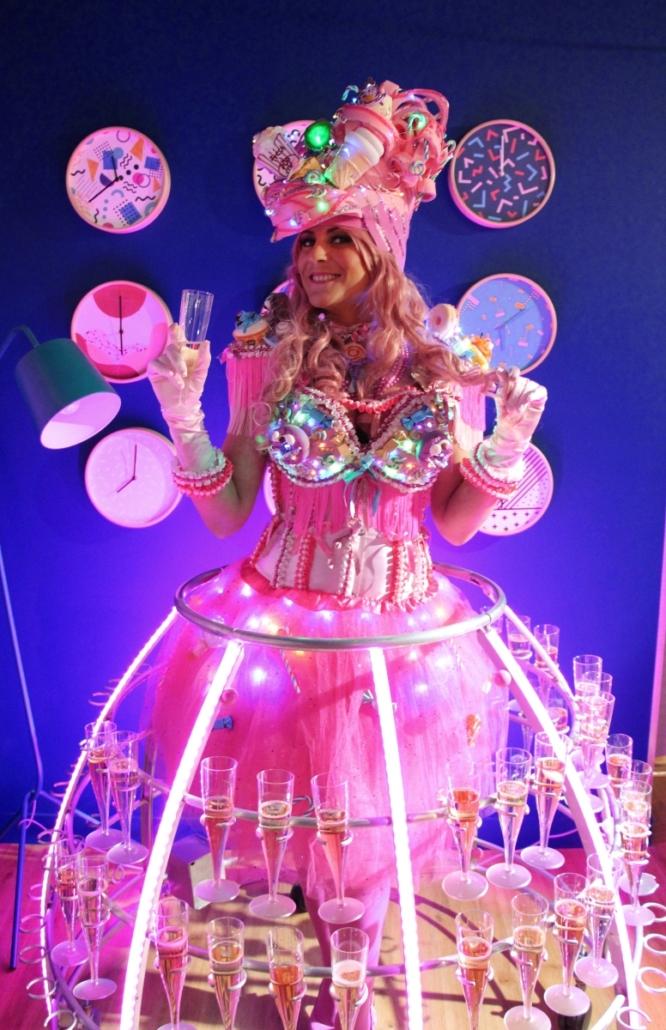 Robe à champagne rose avec bar à bonbons - Agence Butterfly