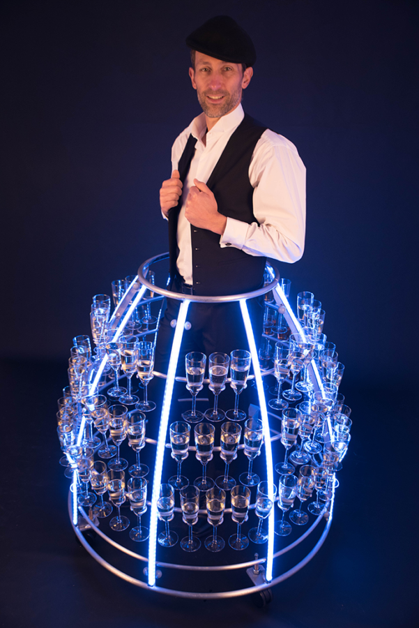 Robe à champagne version masculine led bleu- Agence butterfly