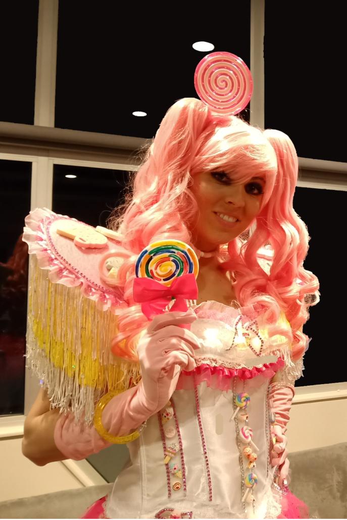 Madame Candy bar pour la distribution de confiseries lors d'une soirée